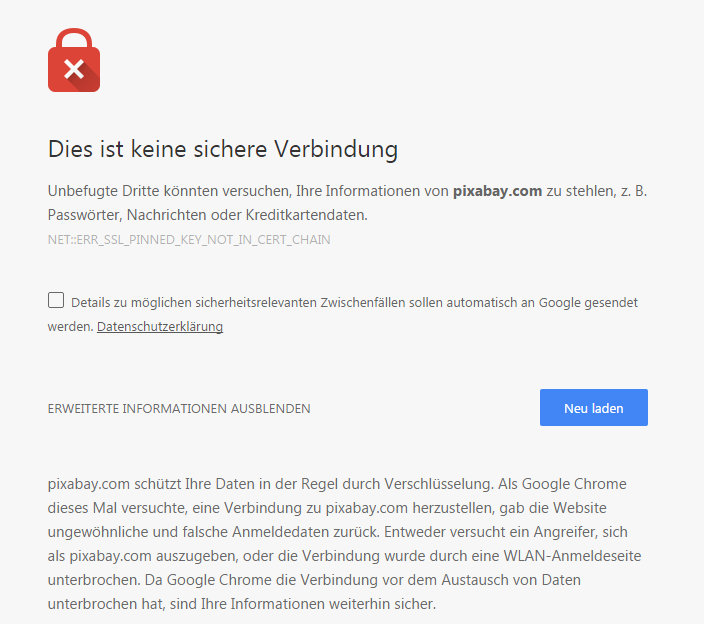 Chrome Meldung